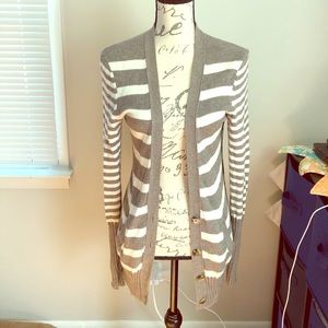American Eagle partial button striped cardigan